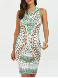 Geometric Mini Tank Bodycon Dress - BLUE GREEN
