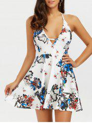 Halter Backless Floral Short Skater Dress - WHITE