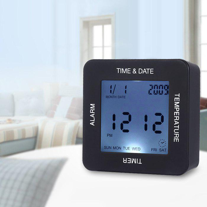 Multifunctional Four Direction Digital Alarm ClockHOME<br><br>Color: BLACK; Power Source: 2 * AAA Batteries (not included);