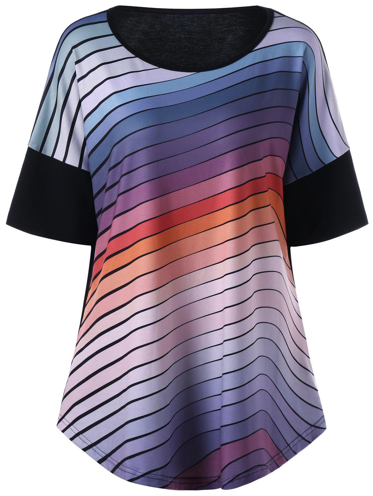 Plus Size Ombre Striped T-ShirtWOMEN<br><br>Size: 3XL; Color: STRIPE; Material: Polyester,Spandex; Shirt Length: Long; Sleeve Length: Short; Collar: Round Neck; Style: Casual; Season: Summer; Pattern Type: Striped; Weight: 0.3500kg; Package Contents: 1 x T-Shirt;