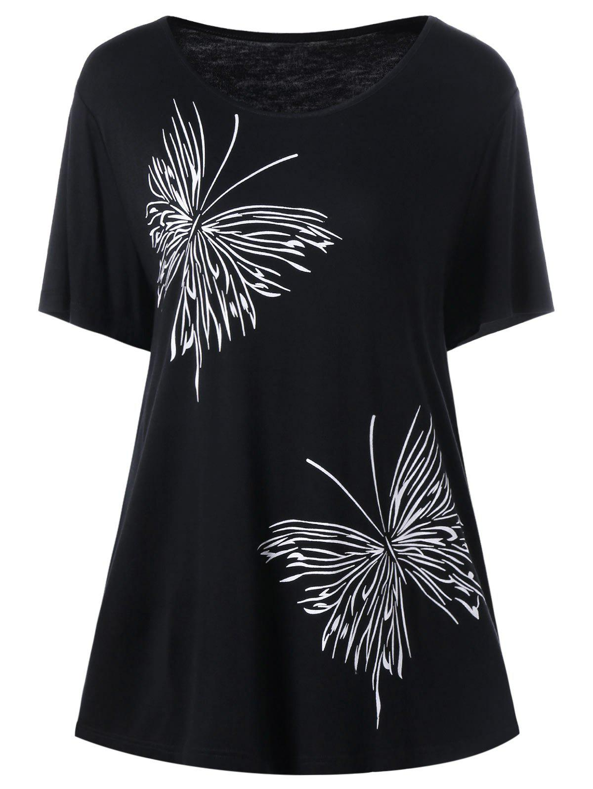 Plus Size Butterfly Graphic T-ShirtWOMEN<br><br>Size: 5XL; Color: BLACK; Material: Rayon,Spandex; Shirt Length: Long; Sleeve Length: Short; Collar: Round Neck; Style: Casual; Season: Summer; Pattern Type: Insect; Weight: 0.3300kg; Package Contents: 1 x T-Shirt;