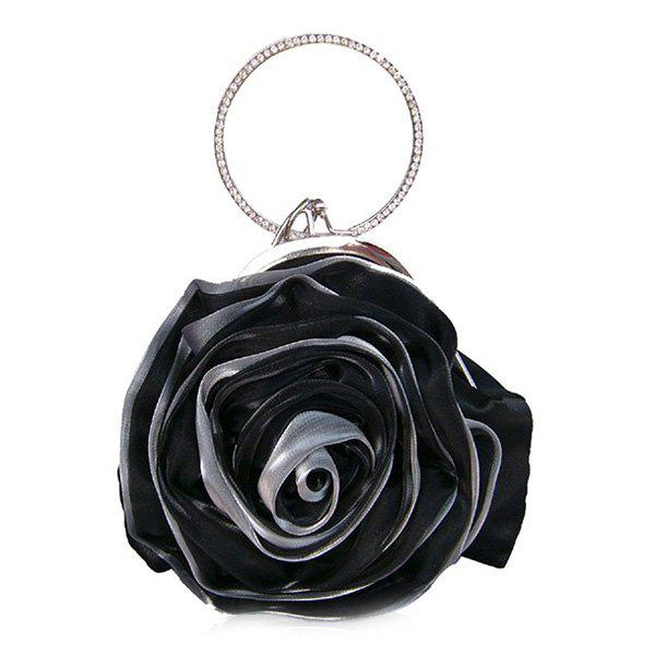 Outfits Satin Flower Metal Ring Evening Bag