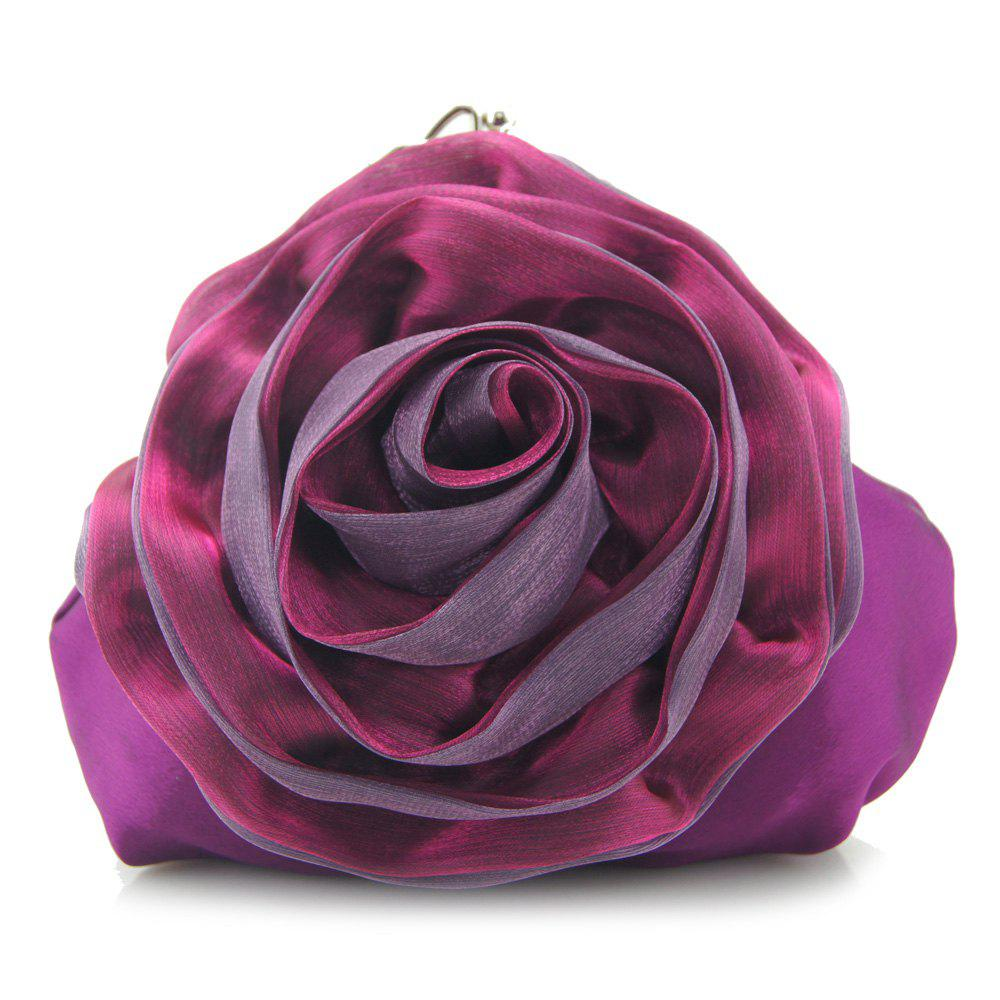 Affordable Satin Flower Metal Ring Evening Bag