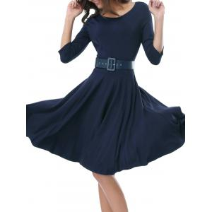 Belted Skater Going Out Swing Dress - DEEP BLUE 2XL