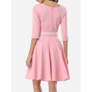 Office Belted Skater Going Out Swing Dress - PINK S