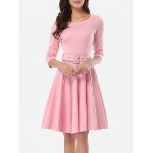 Belted Skater Going Out Swing Dress - PINK S
