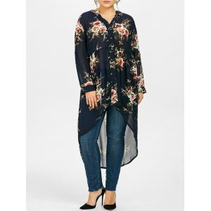 Chiffon Floral Plus Size Top - Purplish Blue - Xl