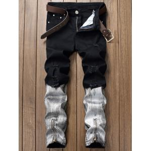 Baking Painted Design Ripped Jeans - Black - 32