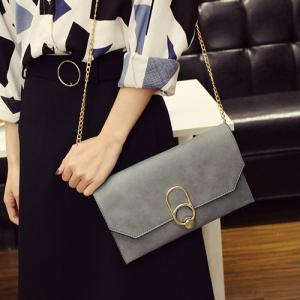 Metal Detail Clutch Bag with Chains - GRAY