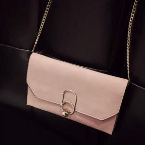 Metal Detail Clutch Bag with Chains - PINK