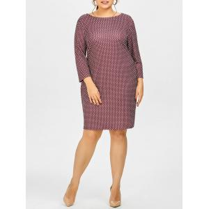 Plus Size Polka Dot Printed Sheath Work Dress