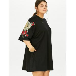 Plus Size Floral Embroidered Tunic T-Shirt Dress With Pockets - BLACK ONE SIZE