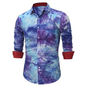 Turndown Collar 3D Tie Dye Long Sleeve Shirt