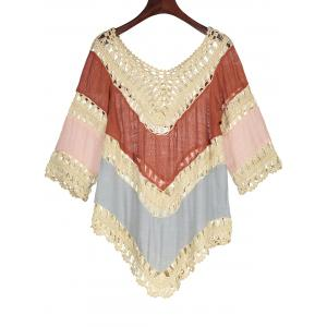 Color Block Crochet Beach Tunic Cover Up -