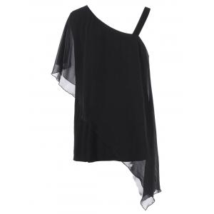 Plus Size Skew Collar Overlay T-Shirt -