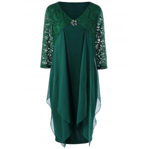 Lace Trim Drape Front Plus Size Dress - Blackish Green - 5xl