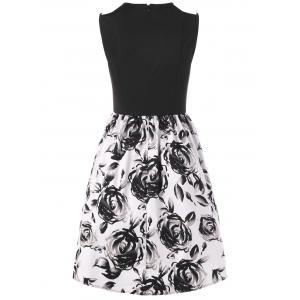 Sleeveless Floral Ball Gown Party Dress - WHITE/BLACK 2XL