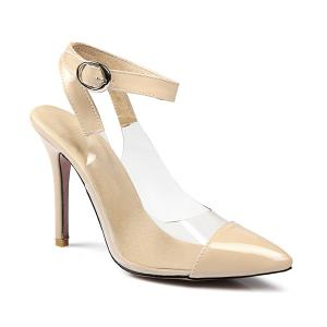 Pointed Toe Transparent Plastic Pumps - Nude - 38