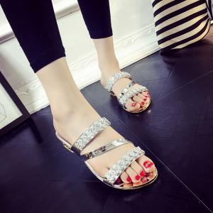 Rhinestones Wedge Heel Slippers - Silver - 38