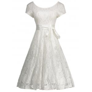 Floral Wedding Party A Line Lace Cocktail Dress - White - L