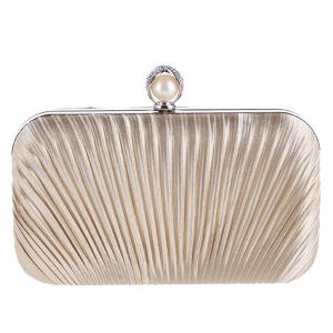 Pleated Satin Faux Pearl Evening Bag -