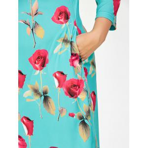 Plus Size Rose Floral Dress With Pockets - BLUE GREEN 6XL