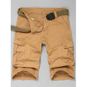 Multi Pokets Cargo Shorts - Khaki - 32