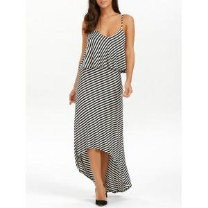 Striped High Low Slip Summer Casual Maxi Dress