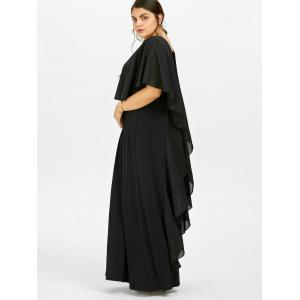 Plus Size Long Flowy Maxi Evening Dress - BLACK 4XL