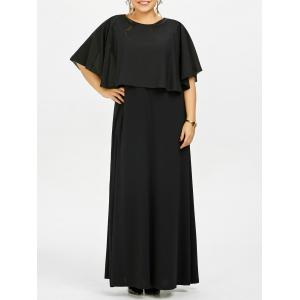 Plus Size Long Flowy Maxi Evening Dress - Black - 2xl