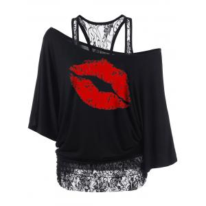 Plus Size Skew Collar Lip Graphic T-Shirt