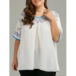Plus Size Chiffon Printed Smock Blouse - White - 5xl