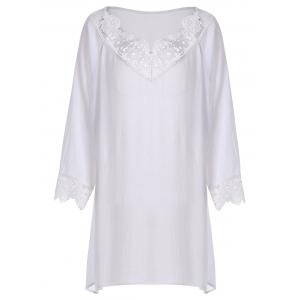 Plus Size Crinkle Lace Crochet Trim Peasant Blouse - White - 3xl