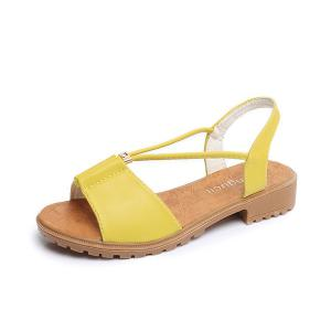 Faux Leather Flat Heel Sandals - Yellow - 38