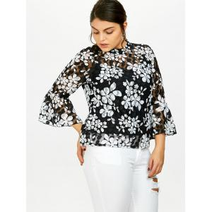 Plus Size Printed Sheer Lace Blouse With Cami Top - WHITE 5XL