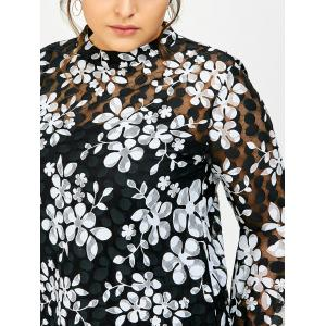 Plus Size Printed Sheer Lace Blouse With Cami Top -