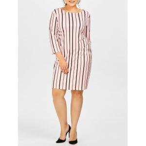 Plus Size Stripe Casual Fitted Dress With Pockets - Light Pink - 5xl