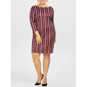 Plus Size Stripe Casual Fitted Dress With Pockets - Purplish Red - 5xl
