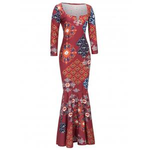 Tribal Print Long Fitted Mermaid Prom Dress - RED 2XL