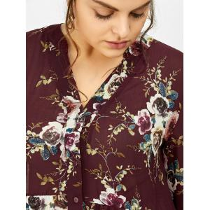 Chiffon Floral Plus Size Top - WINE RED 5XL