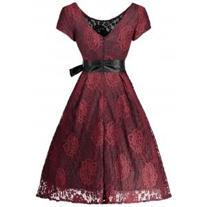 Floral Wedding Party A Line Lace Cocktail Dress - RED WITH BLACK XL