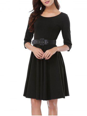 Latest Office Belted Skater Going Out Swing Dress