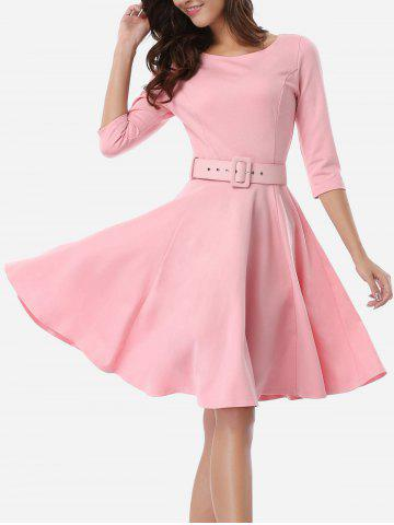 Cheap Office Belted Skater Going Out Swing Dress PINK S