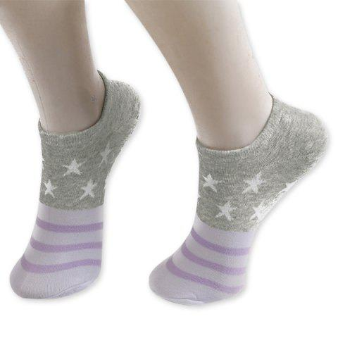 Fancy Pentagram Knitting Striped Ankle Socks GRAY