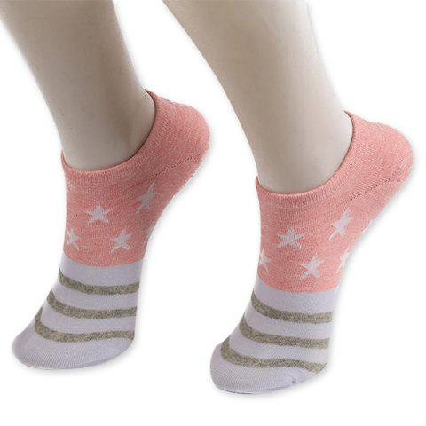 Store Pentagram Knitting Striped Ankle Socks PINK