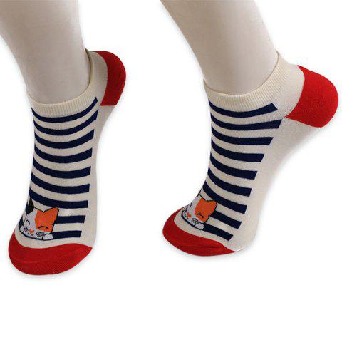 Striped Cartoon Cat Patterned Ankle Socks - Red
