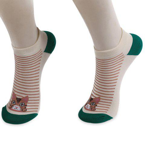 Striped Cartoon Cat Patterned Ankle Socks - Green