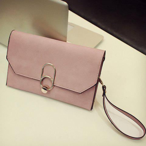 Fancy Metal Detail Clutch Bag with Chains - PINK  Mobile