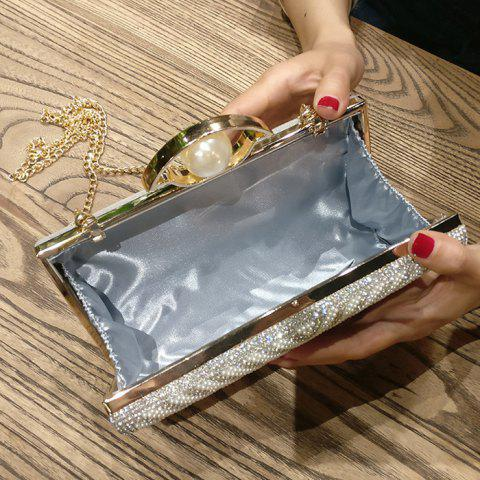 Best Beading Rhinestone Evening Bag with Chains - SILVER  Mobile