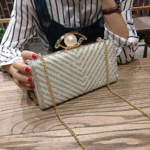 Latest Beading Rhinestone Evening Bag with Chains - SILVER  Mobile